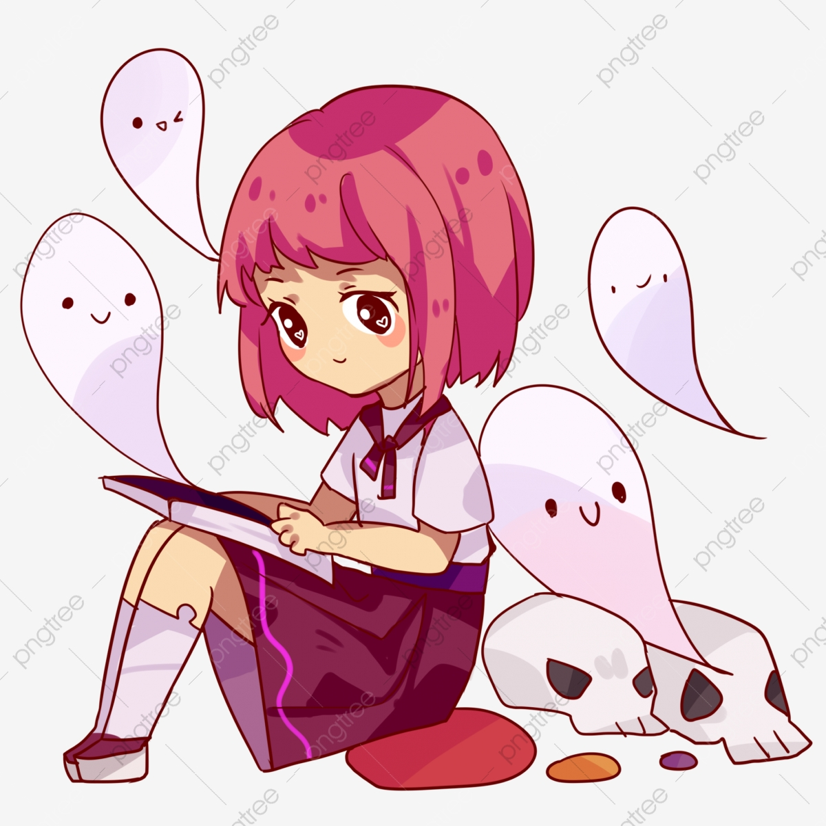 Dessine A La Main Halloween Fantome Personnage Aux Cheveux