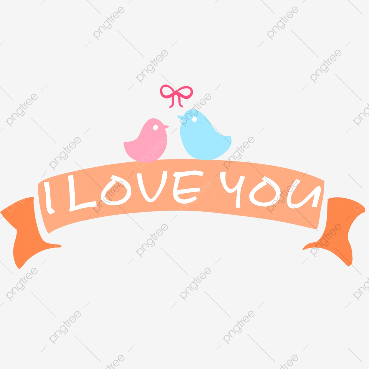 Hand Painted Love Label Lovebirds, Valentines Day, Love Festival