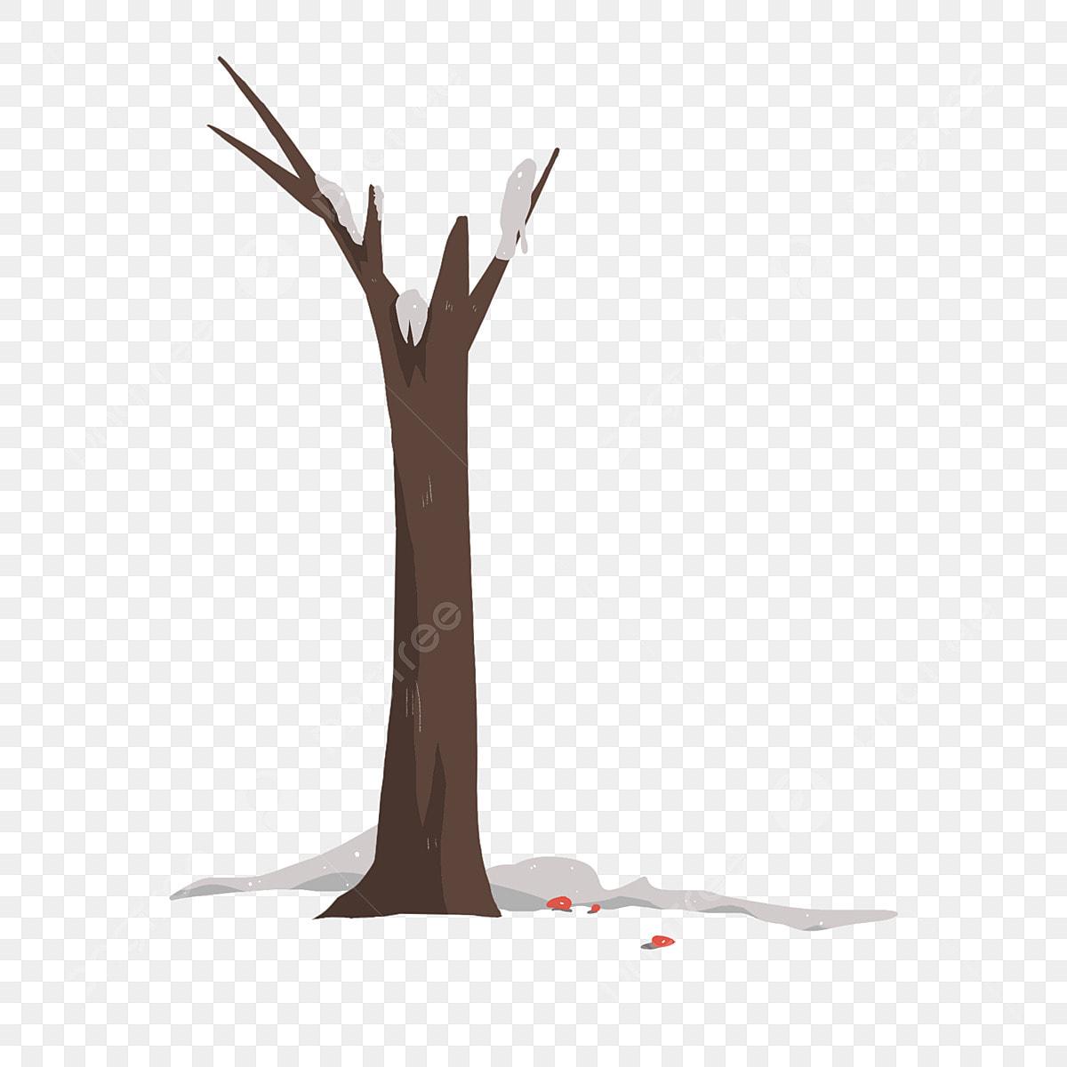 أشجار مرسومة باليد شجرة كبيرة بدون اوراق أشجار الشتاء شجرة ميتة في ثلوج الشتاء داخل أعطى Png وملف Psd للتحميل مجانا
