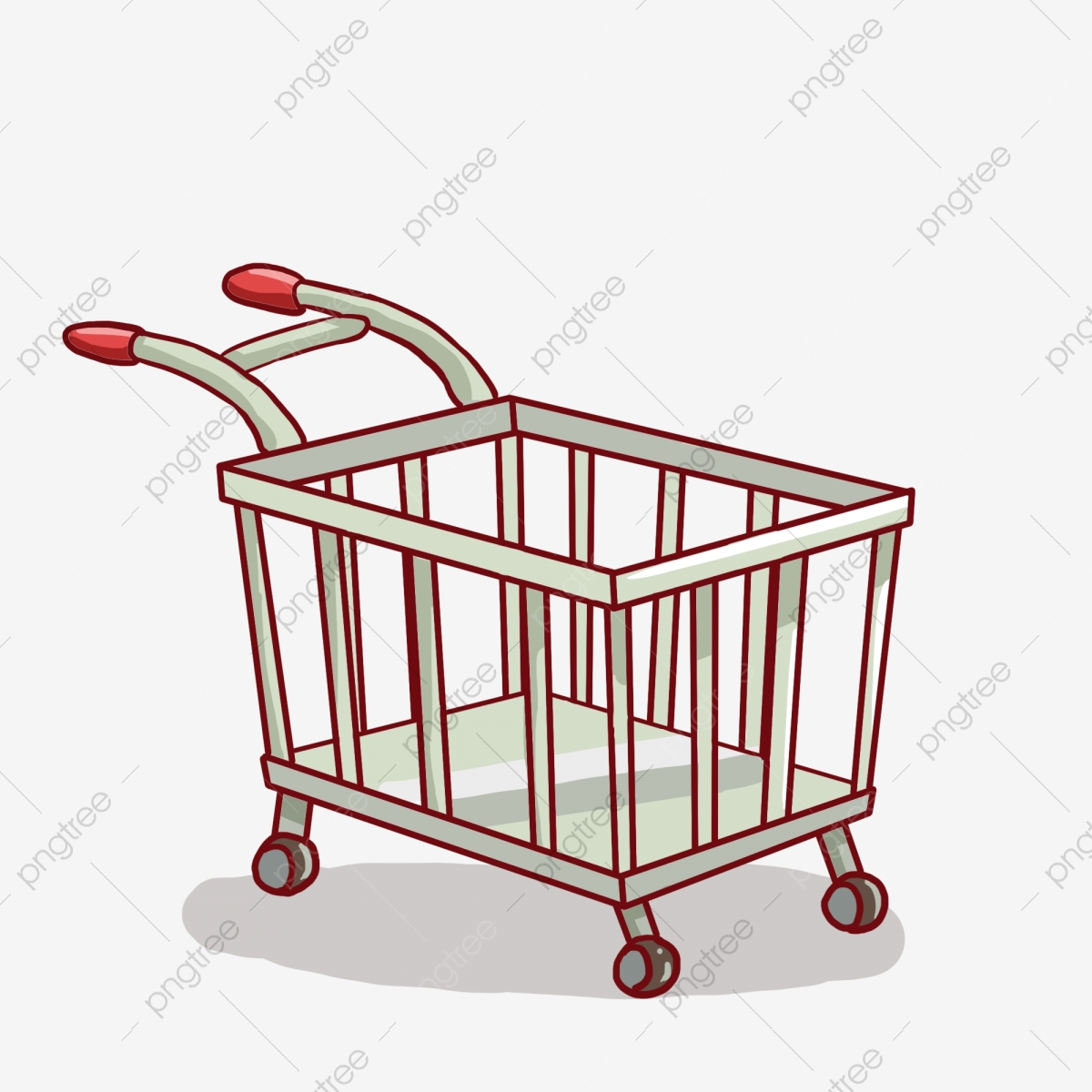 Hand Painted Trolley Empty Cart Daily Supplies Illustration Hand