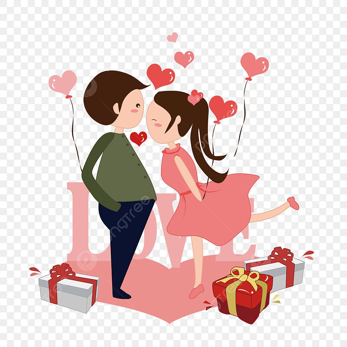 Kiss Hari Valentine Lucu Mencium Pasangan Kartun Pengakuan