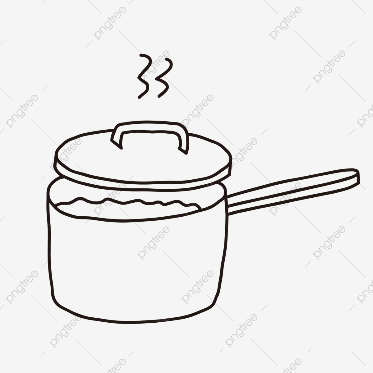 Kitchen supplies aesthetic line black and white line drawing