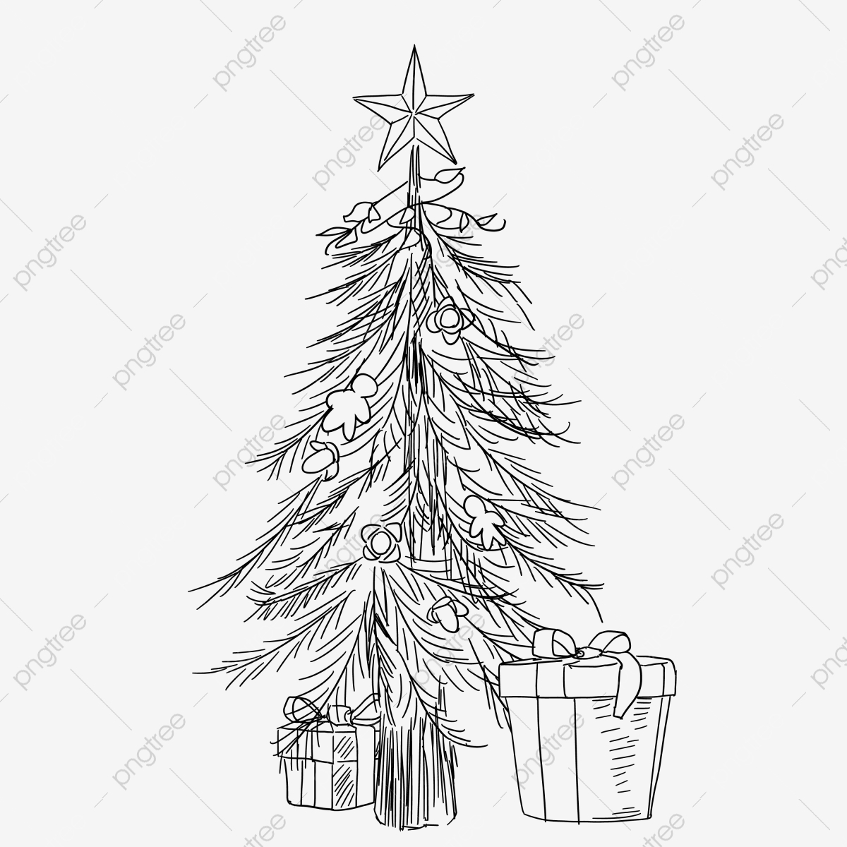 Christmas Gift Box Drawing.Line Drawing Christmas Gift Box Illustration Hand Drawn