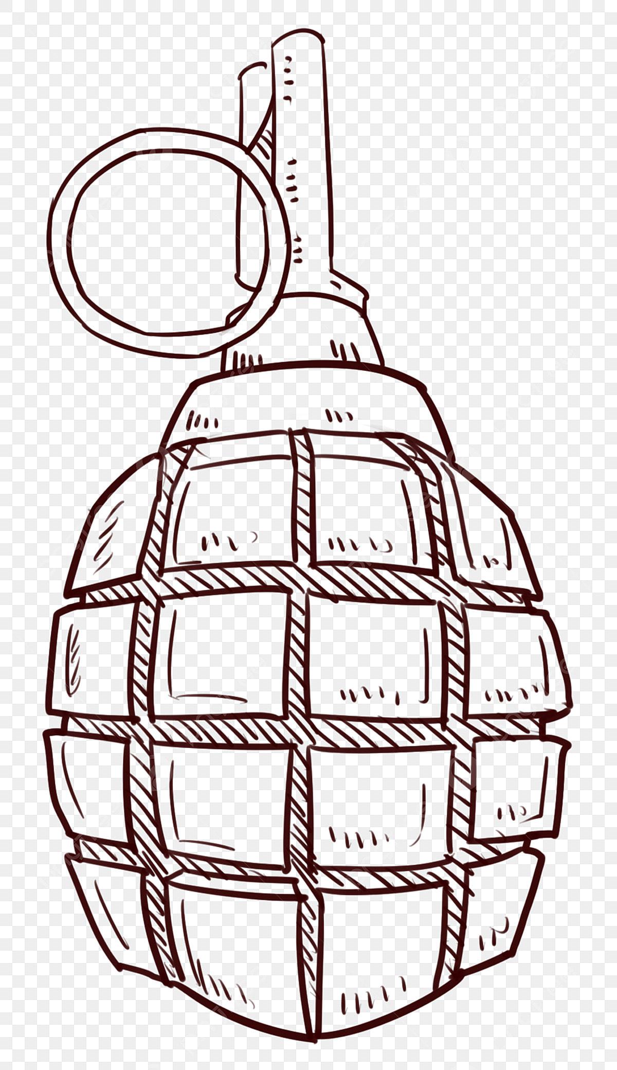 Linha Ilustracao Desenho Militar Granada Granada Municoes Bracos