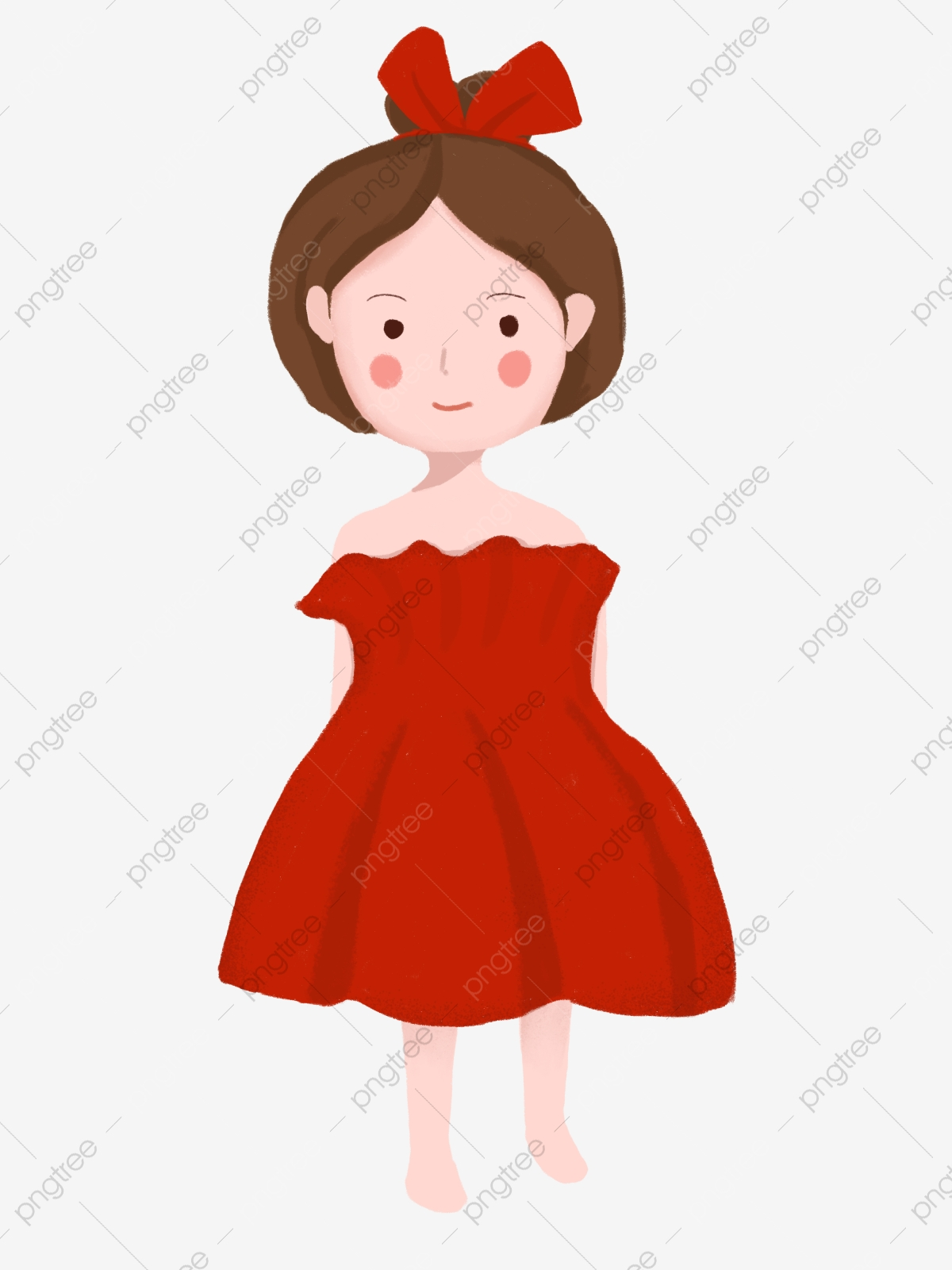 Petite Fille En Robe Rouge Personnage De Dessin Animé Mignon