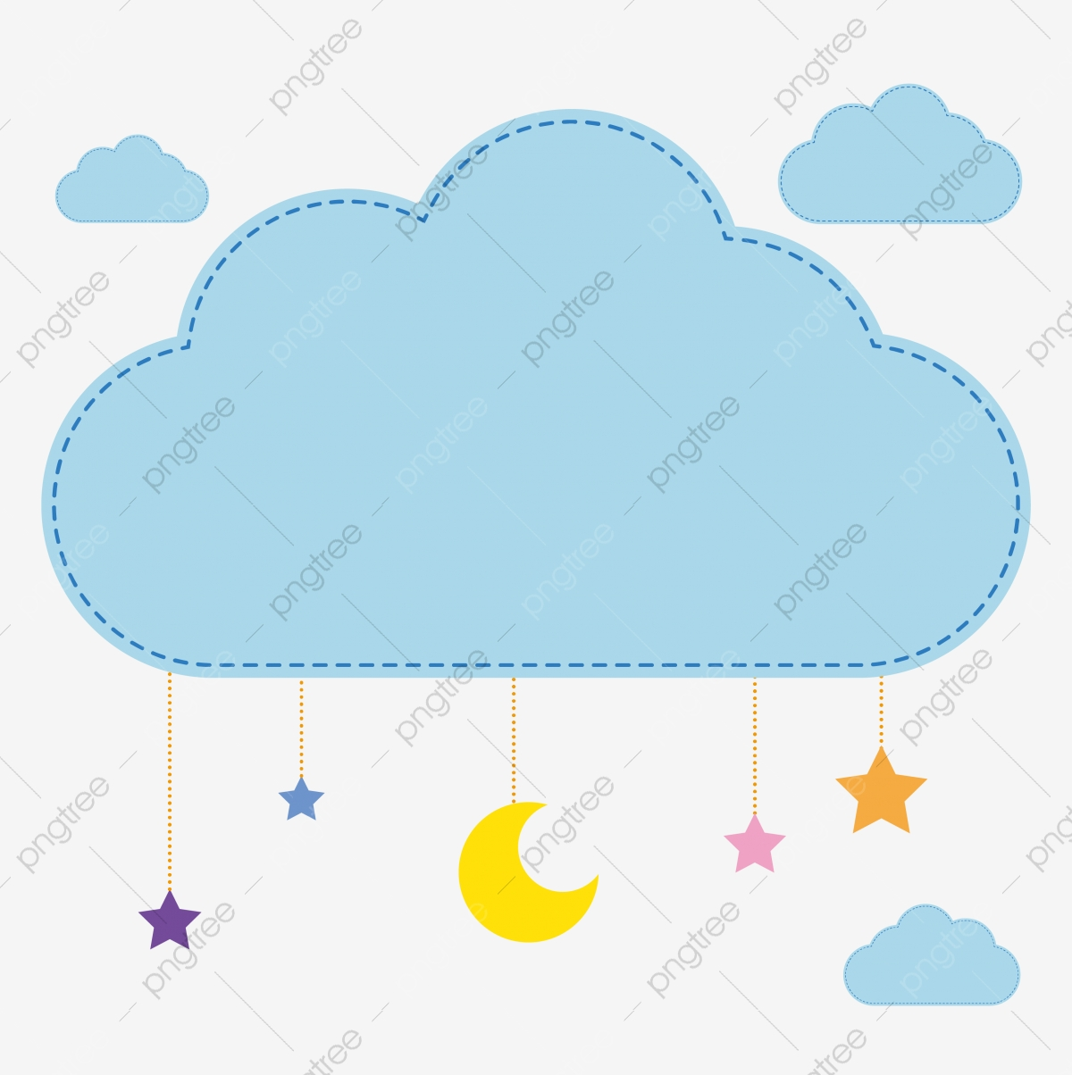 Cartoon clouds color. Lovely cloud child white
