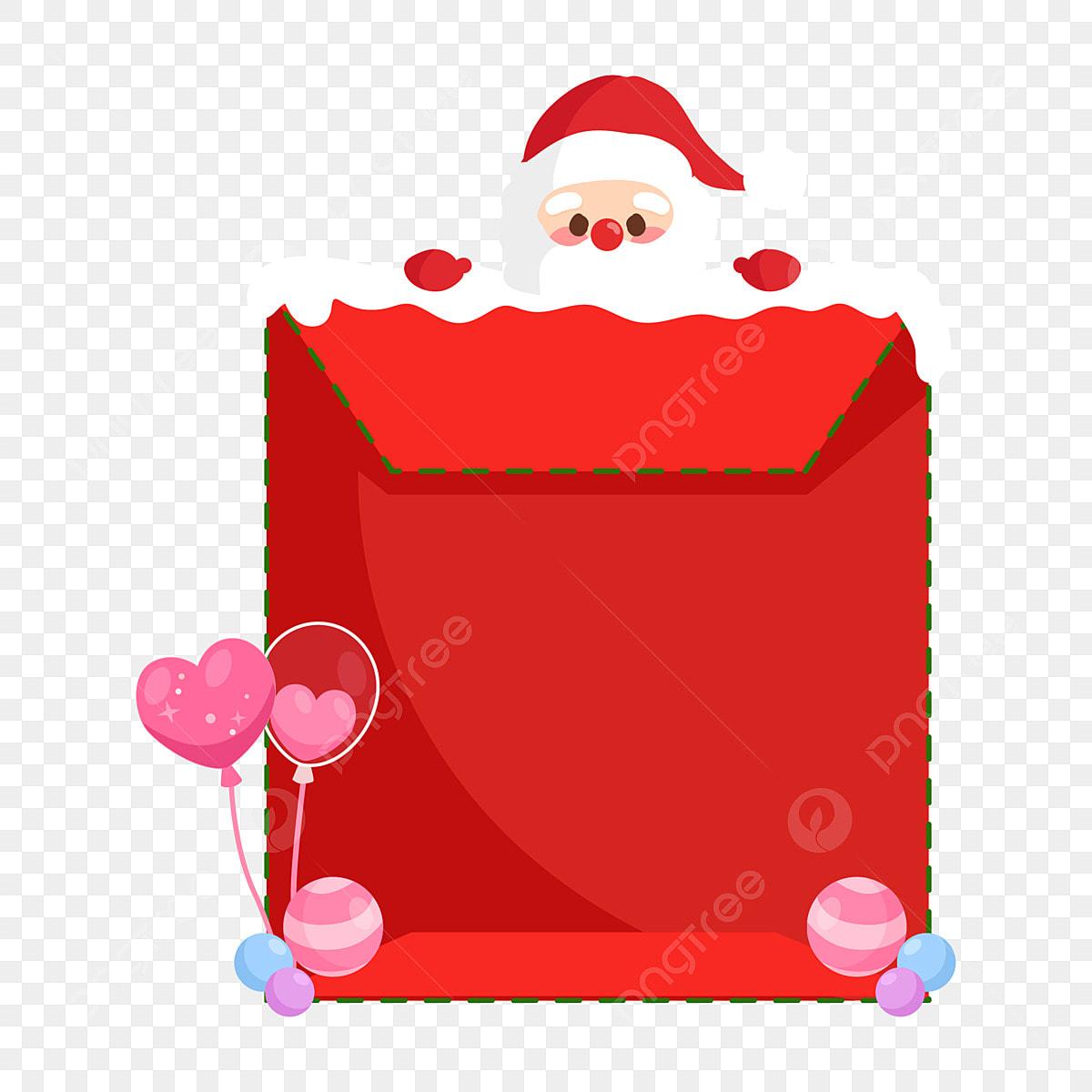 Mignon Dessin Animé Le Père Noël Chapeau De Noel Enveloppe