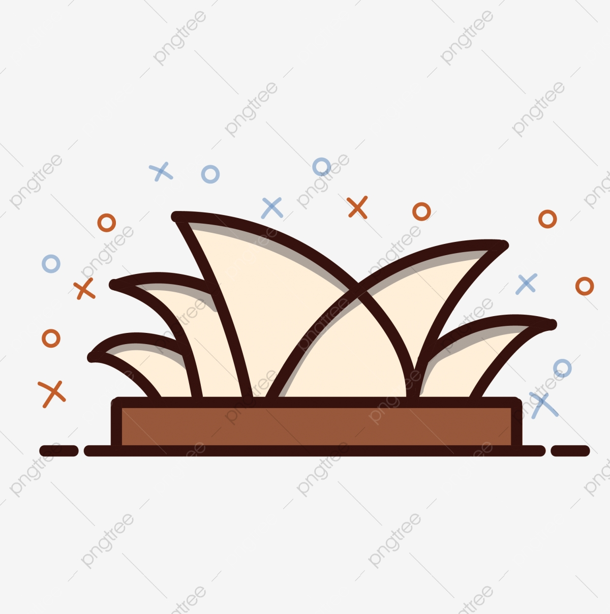 Mbn Style Hand Painted Cartoon Sydney Opera House Building