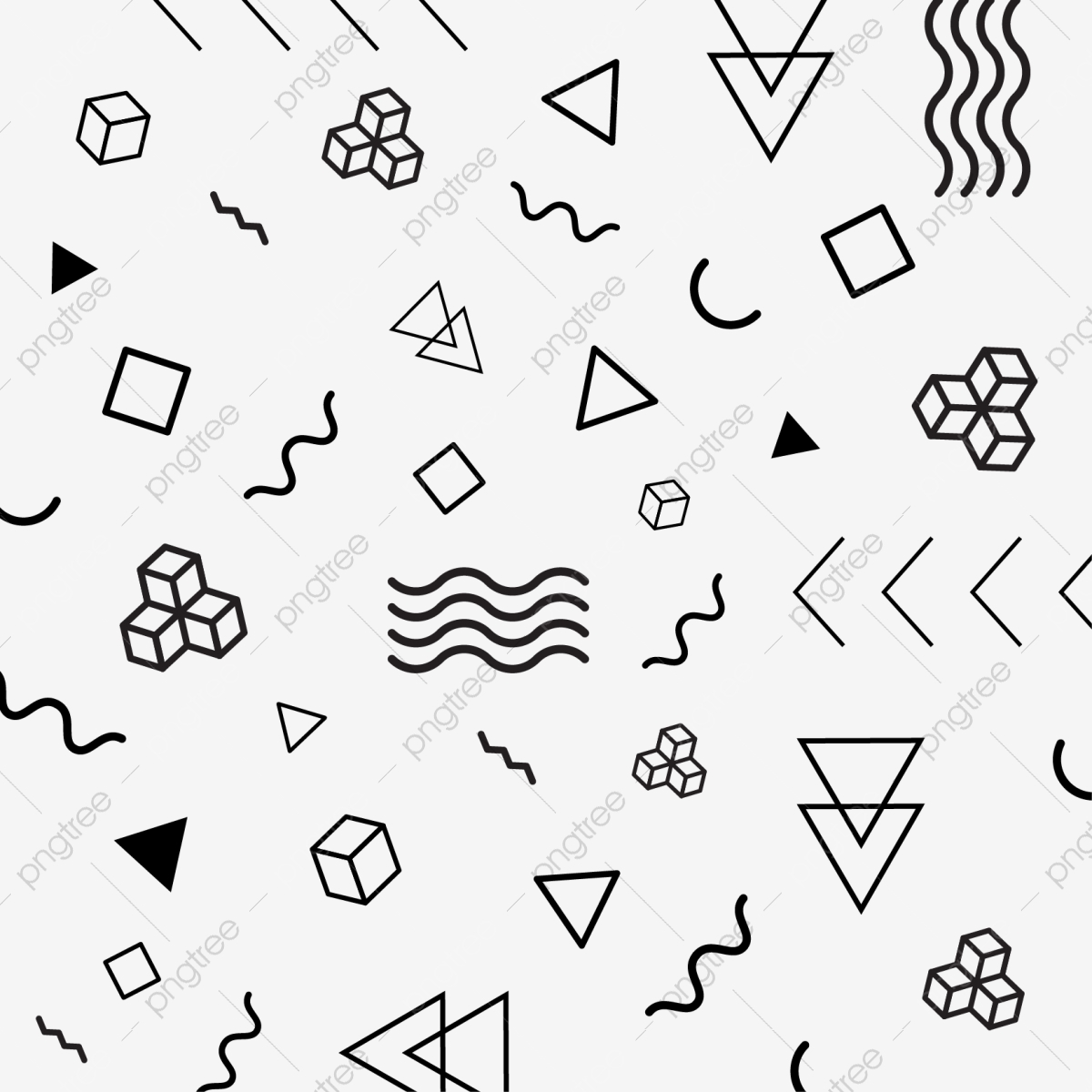 Modern Abstract Memphis Geometric Shapes Vector Pattern