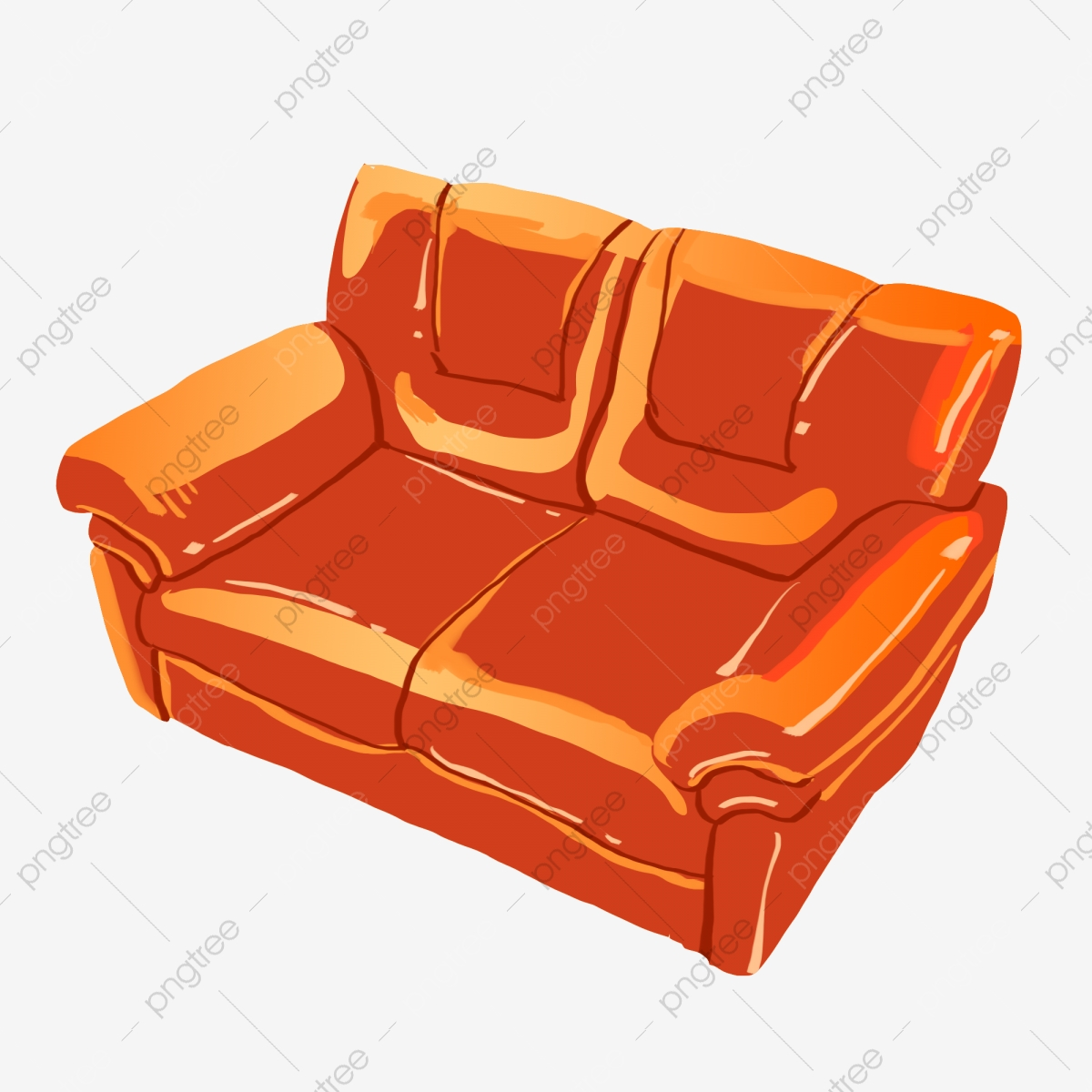 Modern Sofa Illustration Cartoon Sofa Living Room Furniture