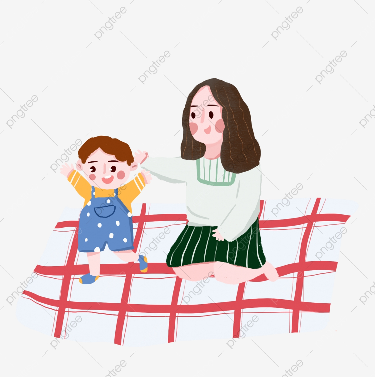 Mother And Baby Characters Hand Drawn Illustration Red Mat