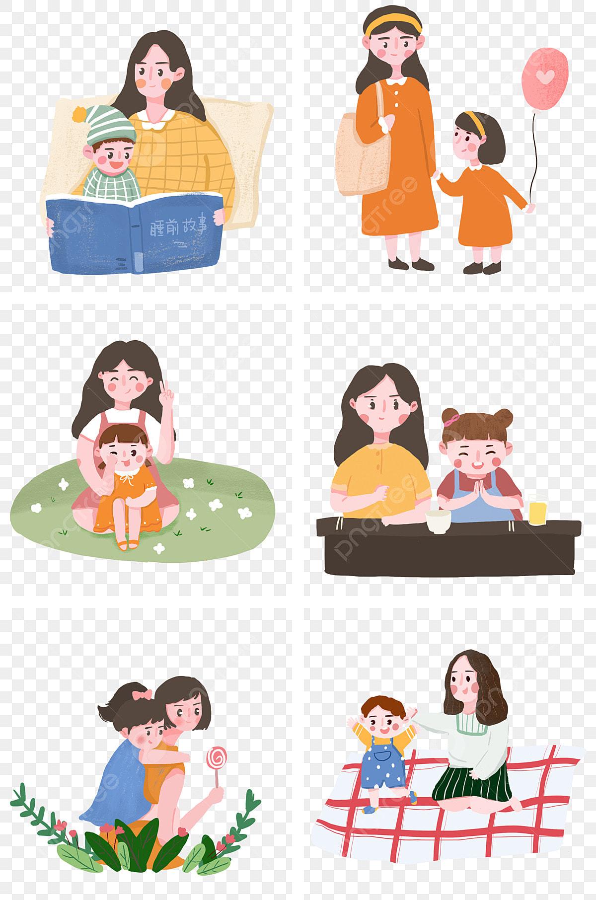 Ilustrasi Ibu Dan Bayi Bergambar Tangan Anak Induk Kuning