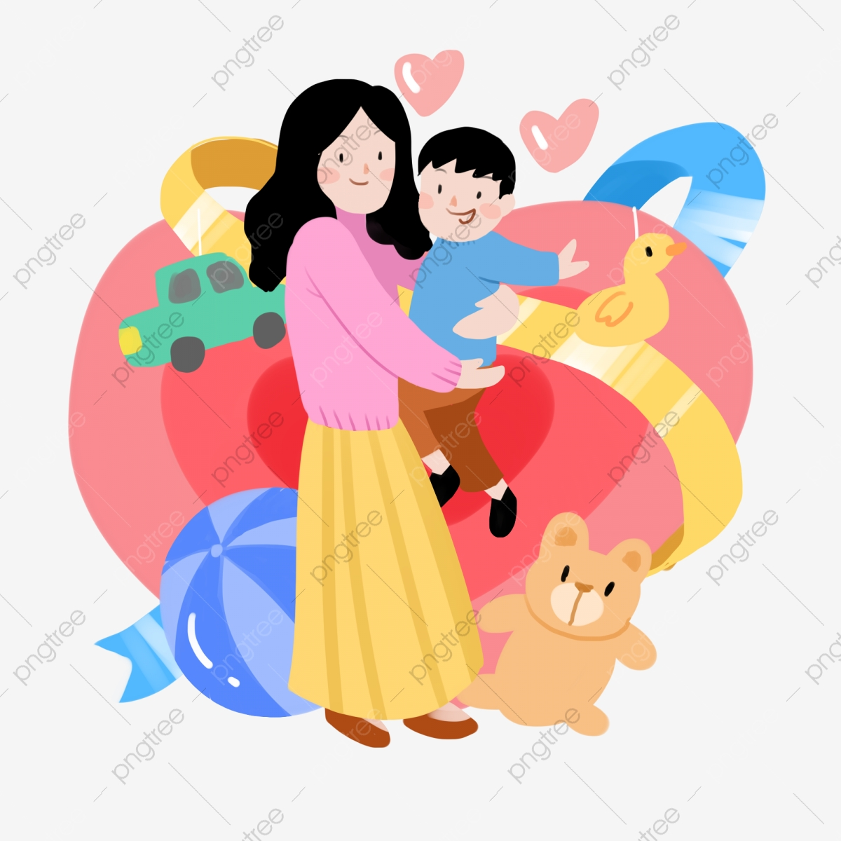 Mother And Baby Characters Illustration Beautiful Mother