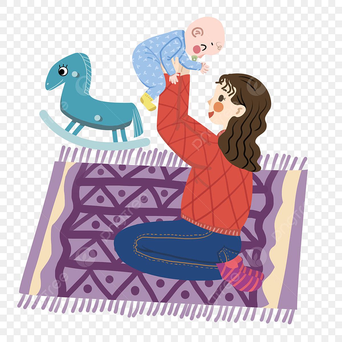 Illustration De Personnages De Mère Et Bébé Tapis Violet ...