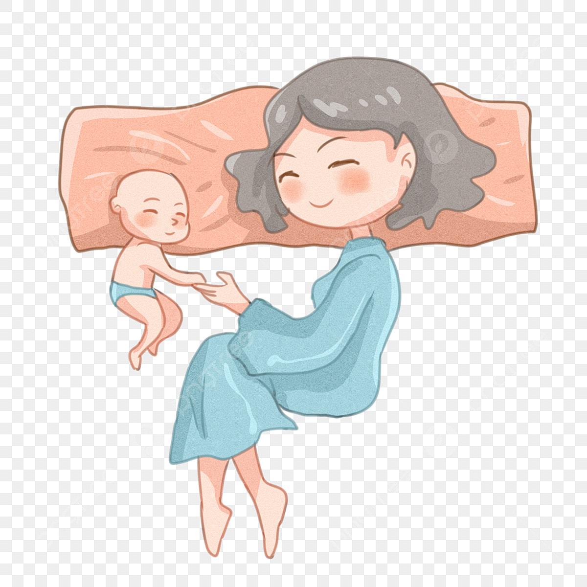 Mere Et Bebe Illustration De Personnage Dessine A La Main Maman