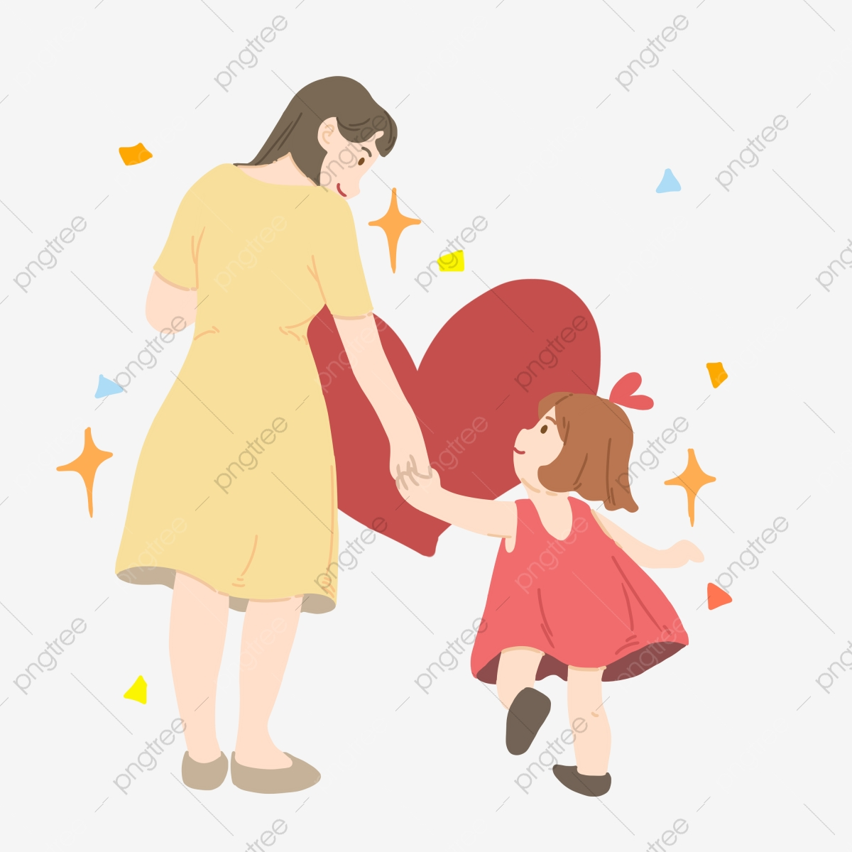 Mother And Baby Hand Drawn Illustration Cute Little Girl Red Heart Yellow Five Pointed Star Beautiful Mother Cartoon Character Illustration Girls Png Transparent Clipart Image And Psd File For Free Download