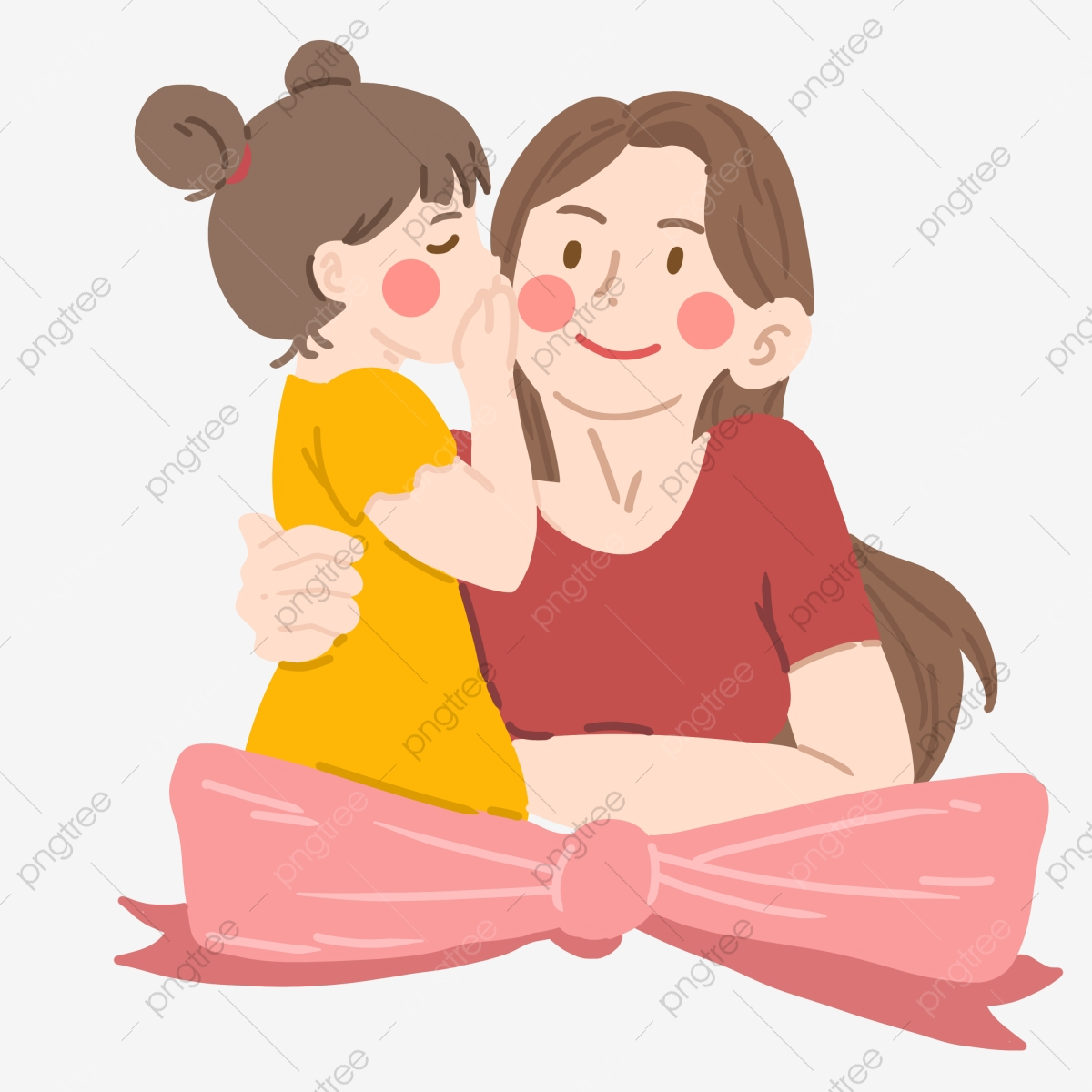 Mother And Baby Hand Drawn Illustration Pink Bow Little Girl Whispering Beautiful Mother Cartoon Character Illustration Red Hair Band Daughter Png Transparent Clipart Image And Psd File For Free Download