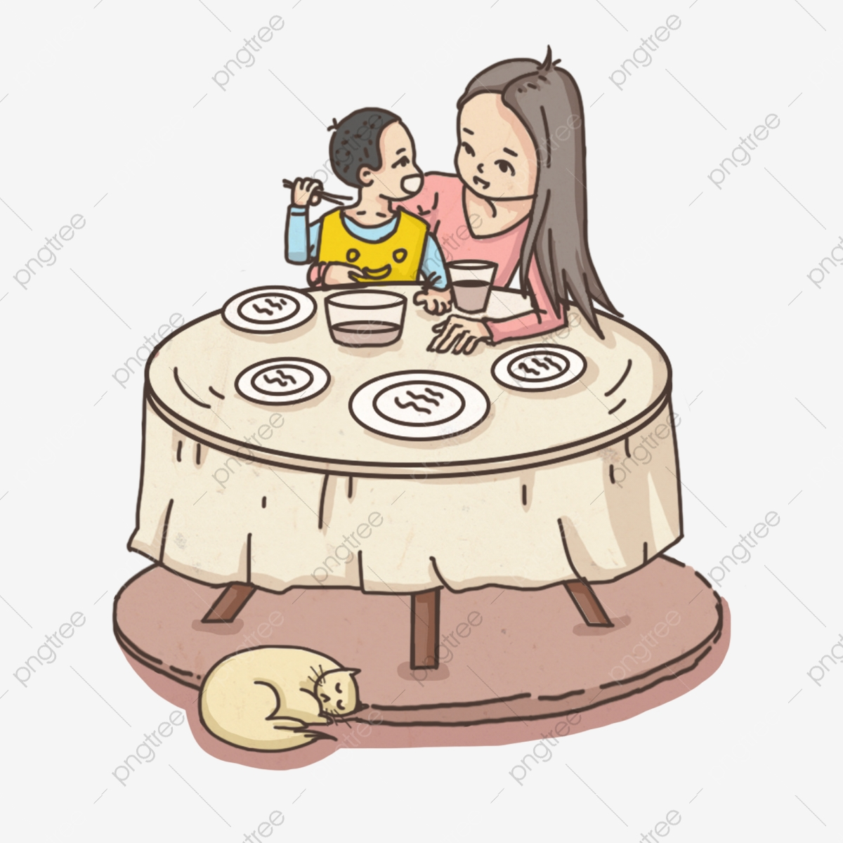 Mother Feeds The Baby To Eat Mom Baby Maternal Love Family Care Child Education Png Transparent Clipart Image And Psd File For Free Download