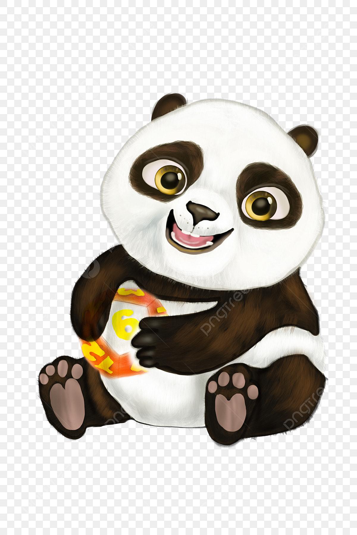 Panda Xiong Bao Bébé Ourson Peint à La Main Mignon Bébé
