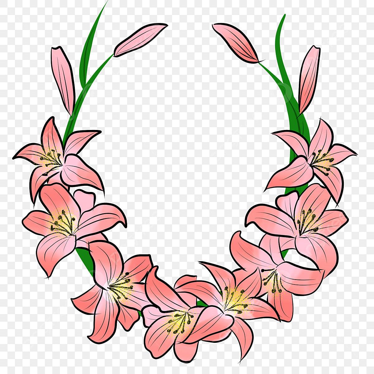Pink Flowers Green Leaves Flower Wreath Yellow Flower