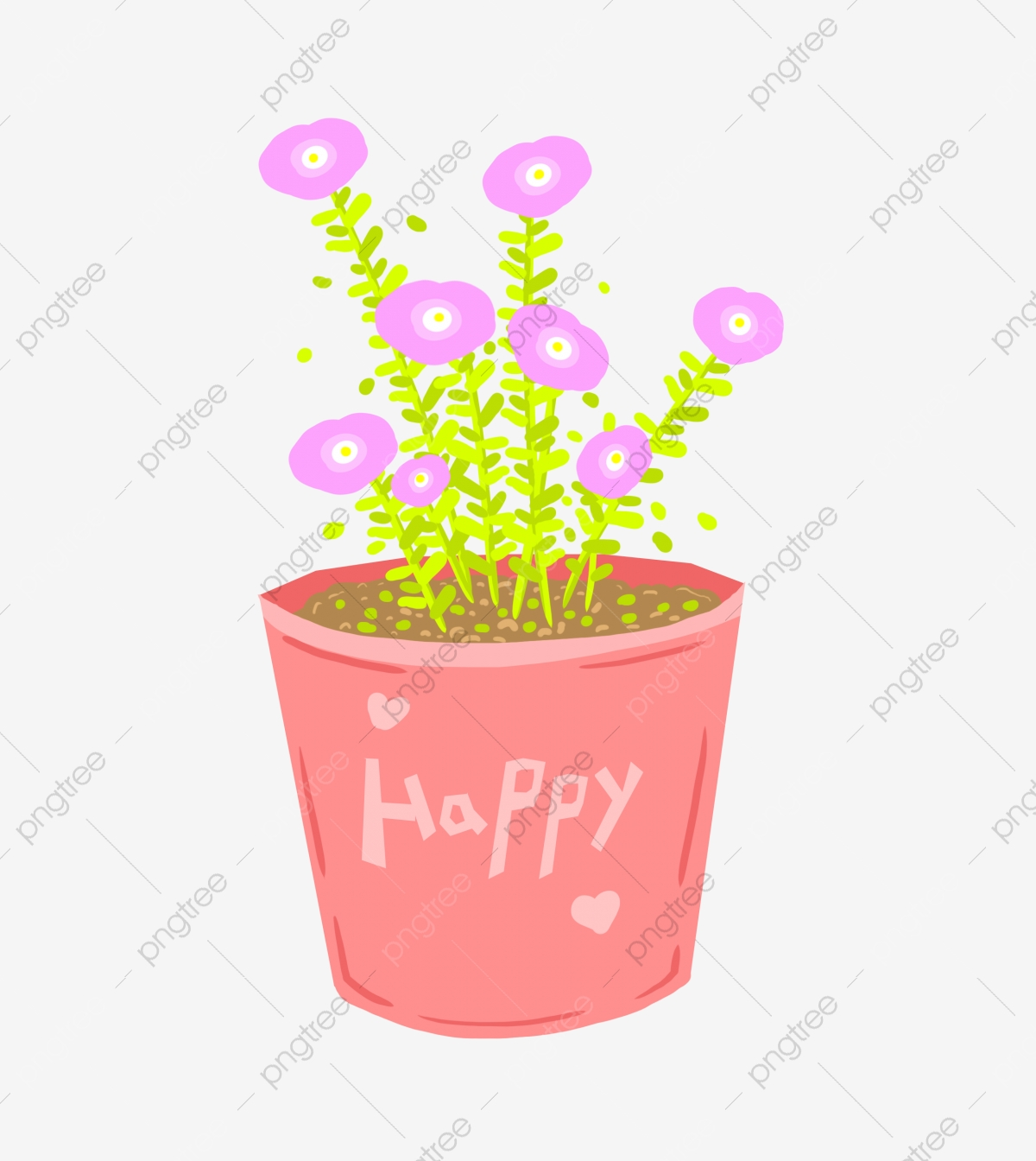 Pink Flowers Pink Flower Pot Beautiful Potted Plant Beautiful Flowers Cartoon Illustration Hand Drawn Potted Illustration Pink Flowers Png Transparent Clipart Image And Psd File For Free Download