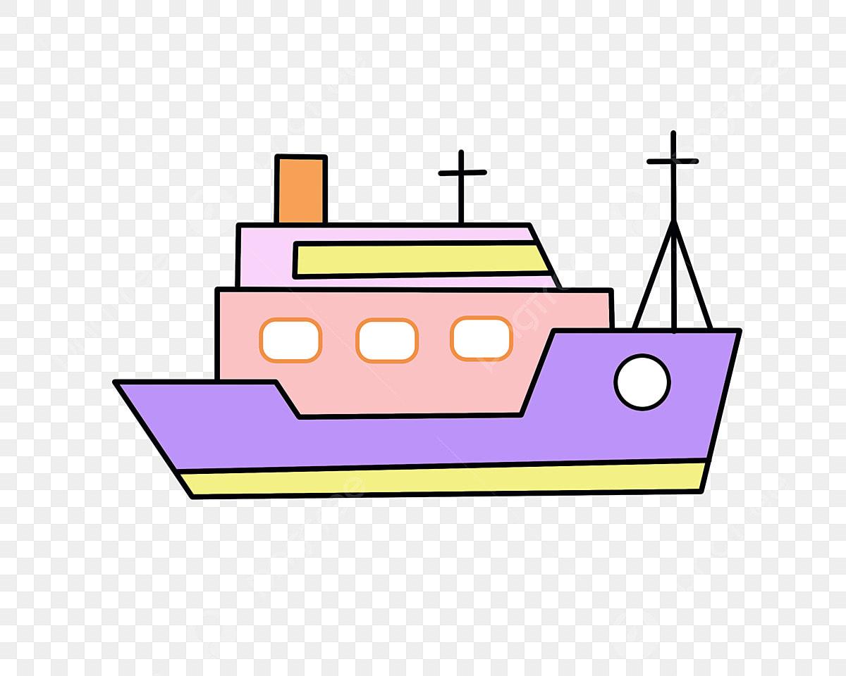 Nave Morada Cabina Rosa Mástil Negro Ilustración De Dibujos