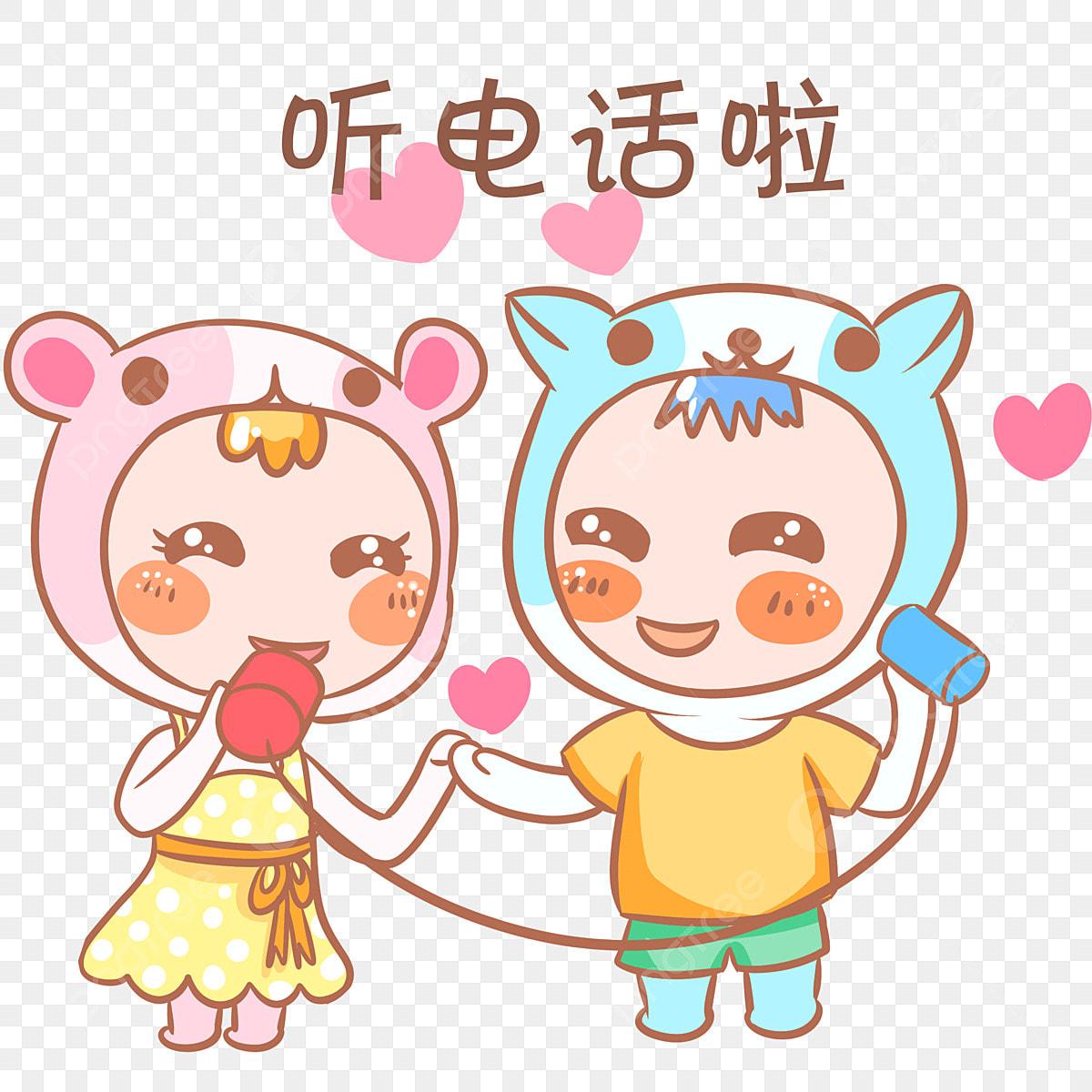 Qixi Festival Pek Emoticon Tema Kartun Pasangan Watak Lucu Nakal
