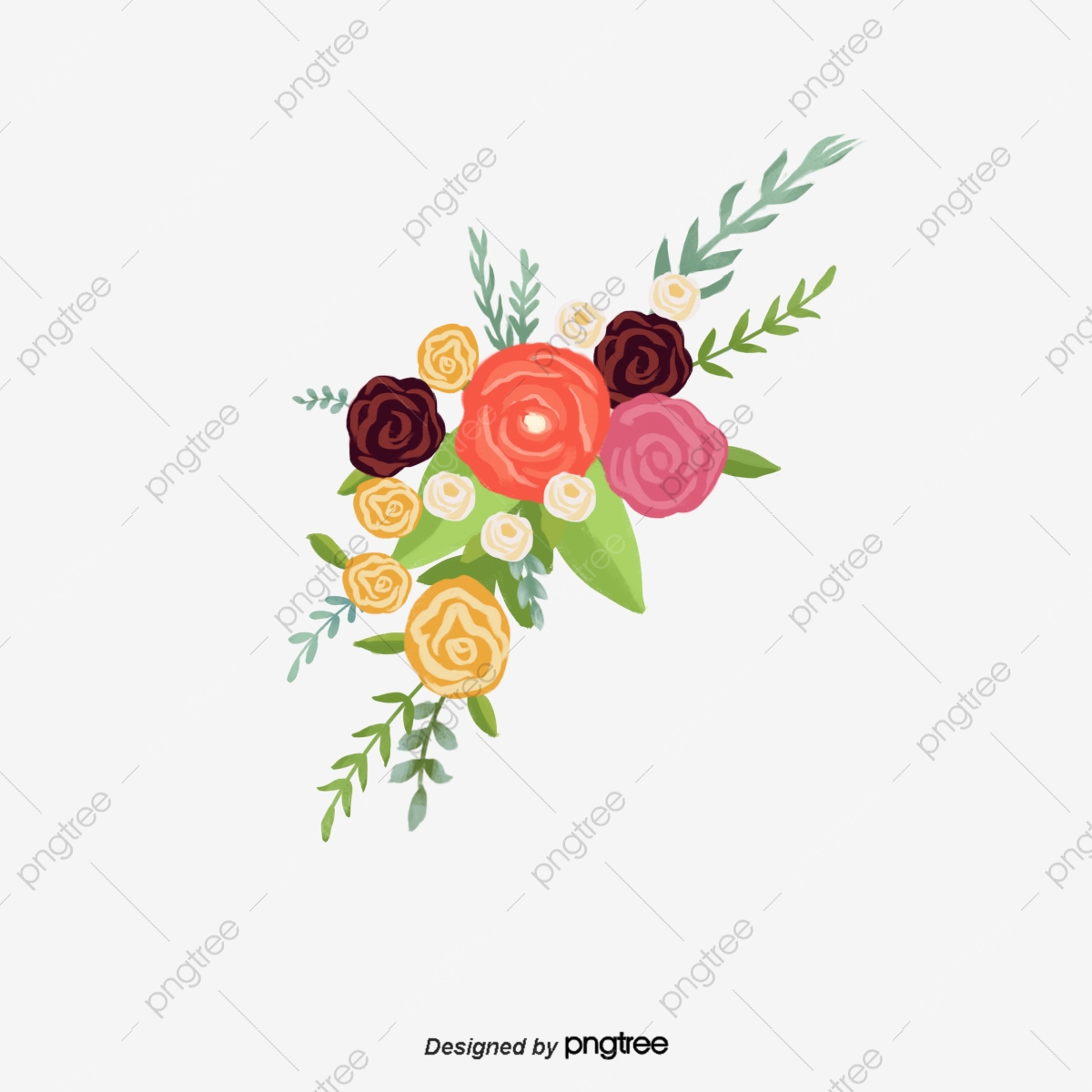 Red Burgundy Flower Decorative Illustration Border Burgundy Flower