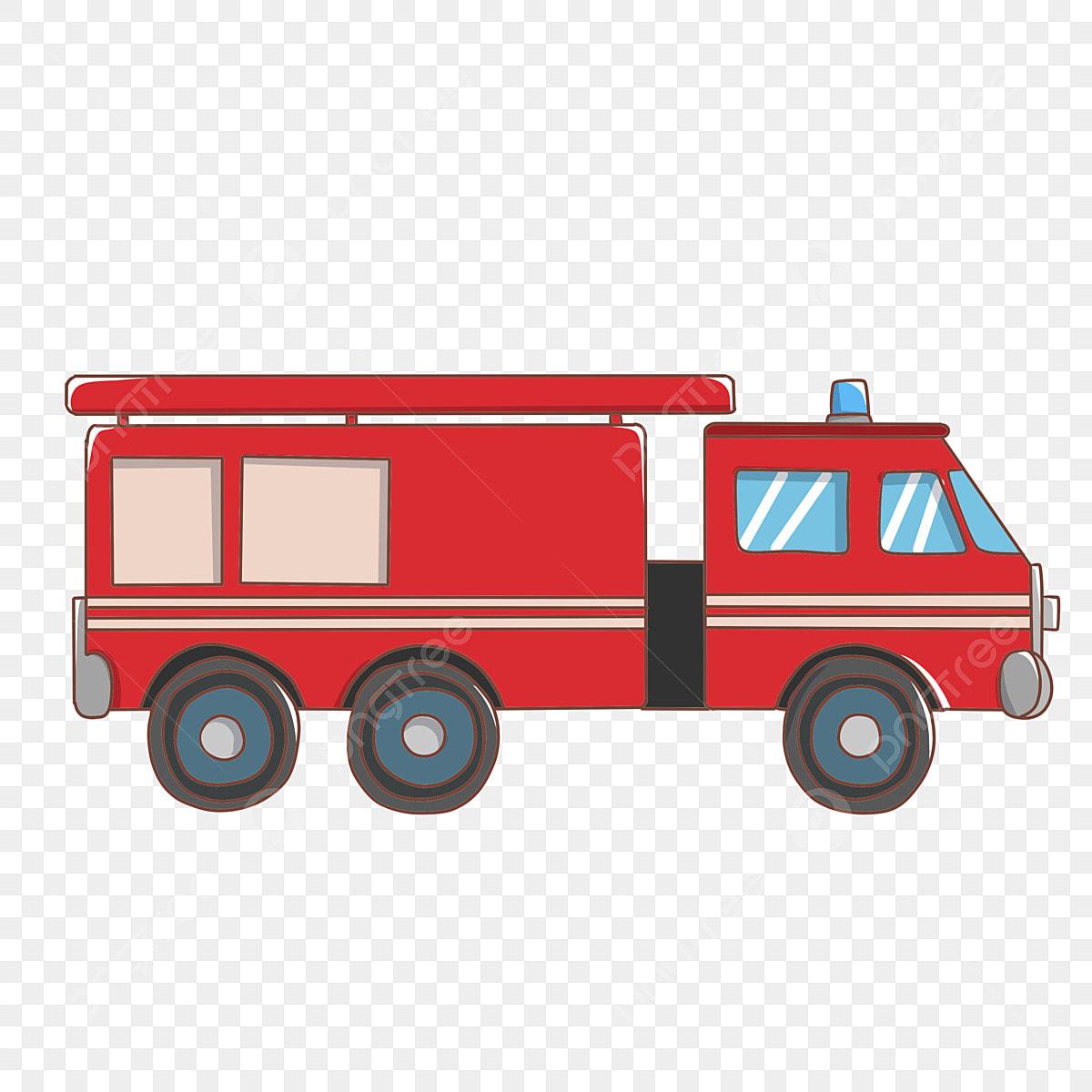 حريق سيارة حمراء كرتون مرسومة باليد عربة إطفاء أداة مكافحة الحرائق شاحنة نقل سيارة حمراء سيارة Png وملف Psd للتحميل مجانا