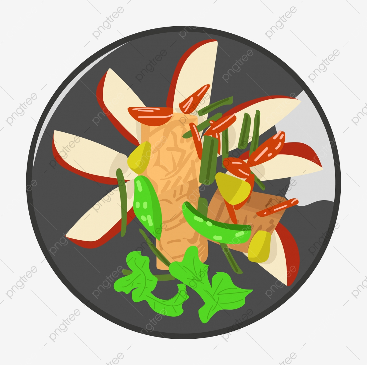 Red Egg Delicious Food Green Vegetables Red Pepper Black Plate Hand Drawn Food Cartoon Food Png And Vector With Transparent Background For Free Download
