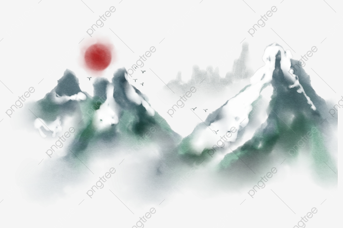 Snow-Covered Mountains Clip Art