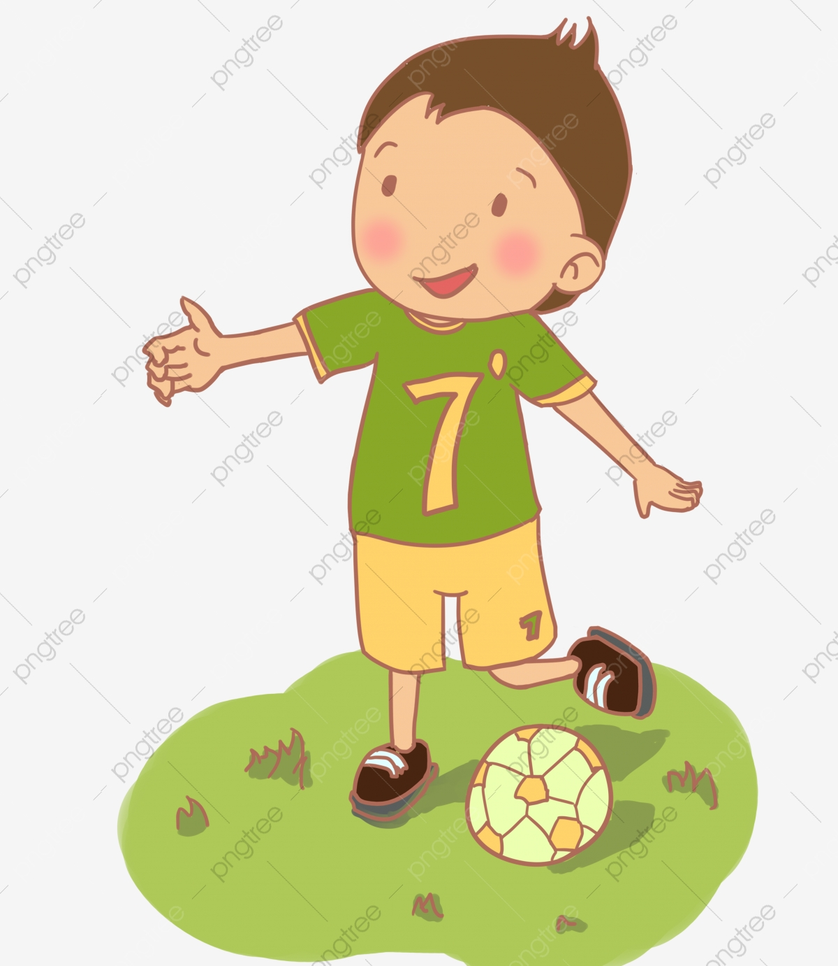 Der Junge Fussball Spielen Junge Suss Schuler Charakter