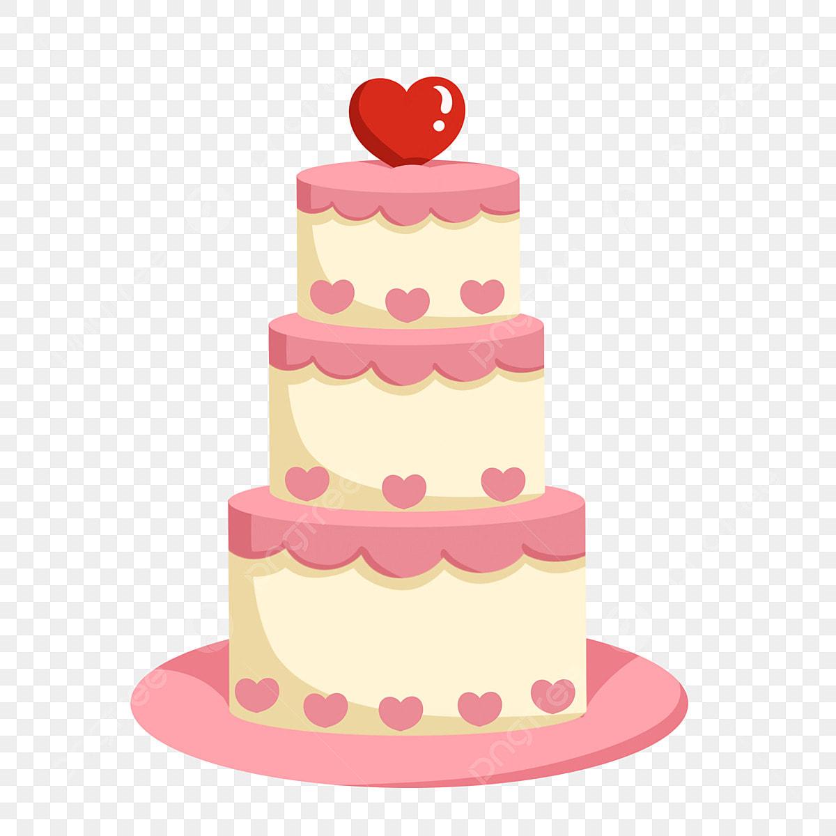 Pleasant Valentines Day Small Illustration Pink Love Cake Beautiful Love Funny Birthday Cards Online Elaedamsfinfo