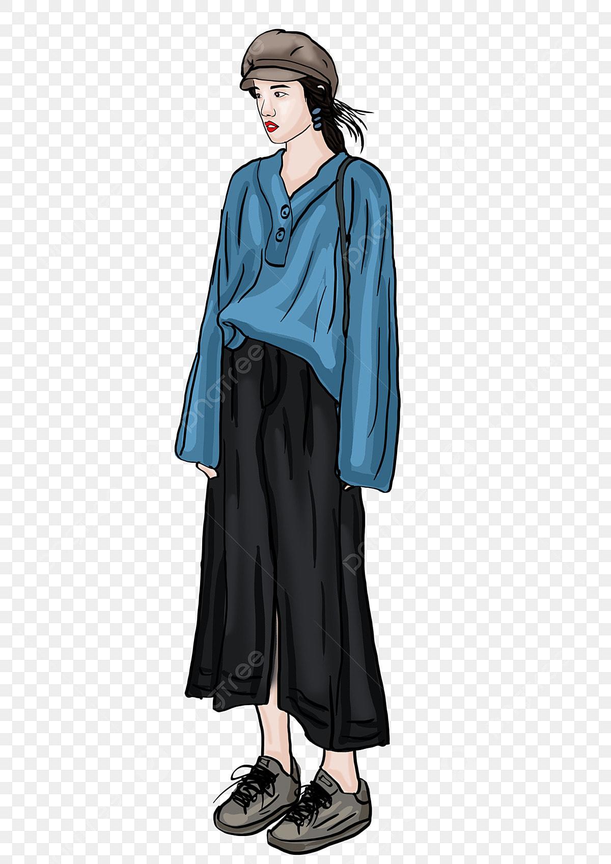 info pour 74df9 5659e Porter Un Pull Bleu Fille à La Mode Lhiver Pull La Mode à La ...