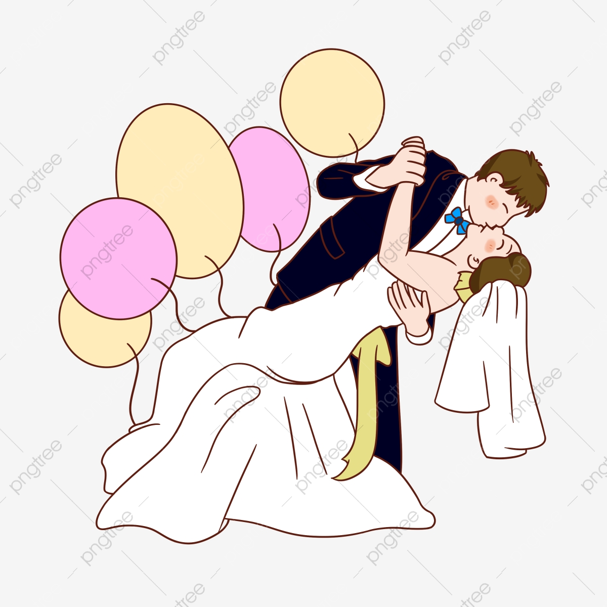 Perkahwinan Kejadian Ciuman Tangan Ditarik Ilustrasi Watak