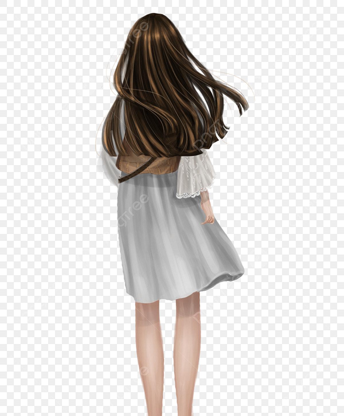 白いドレスの女の子背面図手描きのpng 白いスカートの女の子