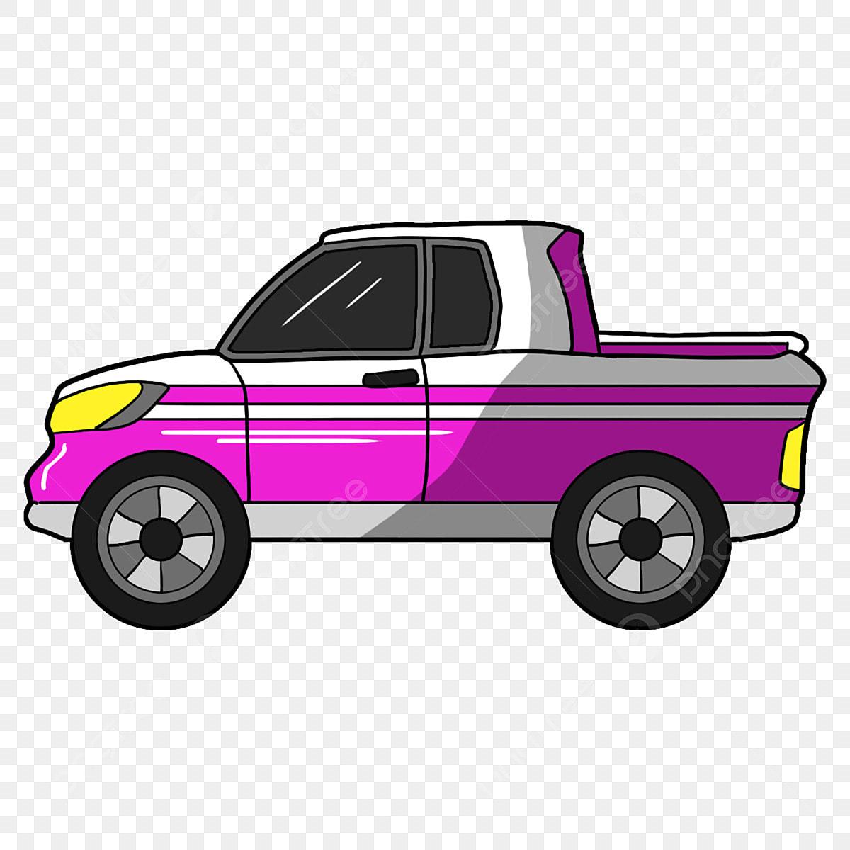 Camion Blanc Voiture De Dessin Animé Motif Violet Véhicule