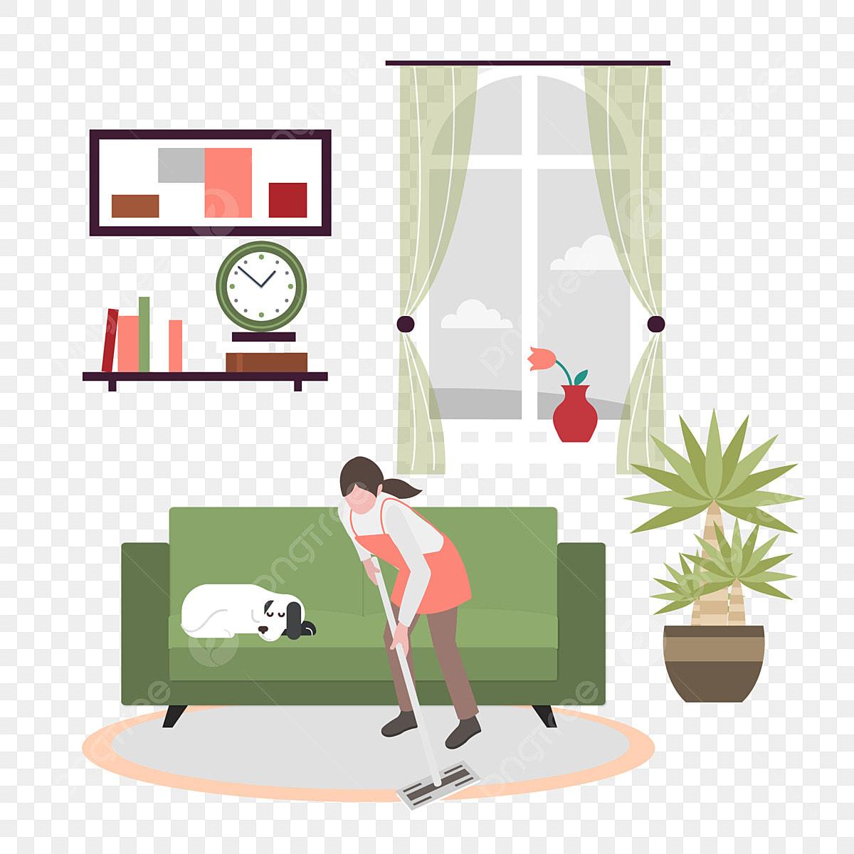 Mujer Limpiando La Habitación Trabajo De Casa Acabado Limpiar Sala De Imágenes Prediseñadas Interior Familia Png Y Vector Para Descargar Gratis Pngtree