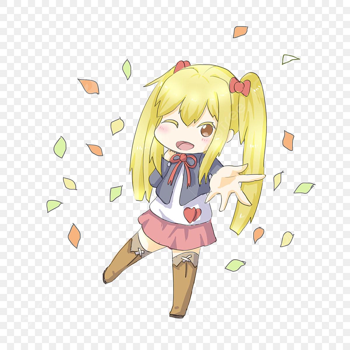 Yellow Hair Double Ponytail Girl Autumn Girl Cartoon Q