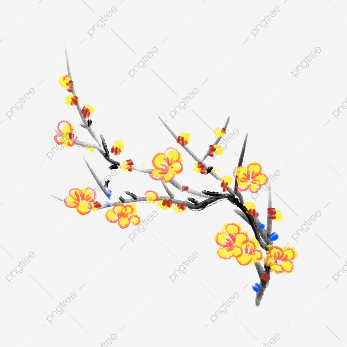 Yellow Osmanthus Ink Osmanthus Cartoon Osmanthus Yellow Flowers