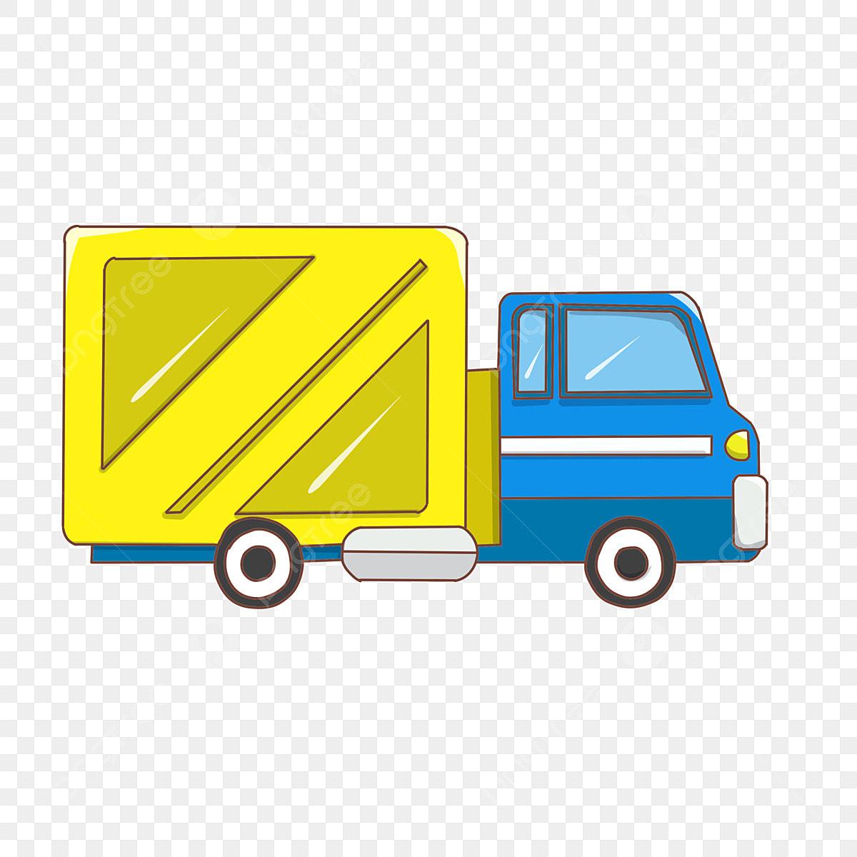 Camion Jaune Camionnette De Dessin Animé Front Bleu Véhicule