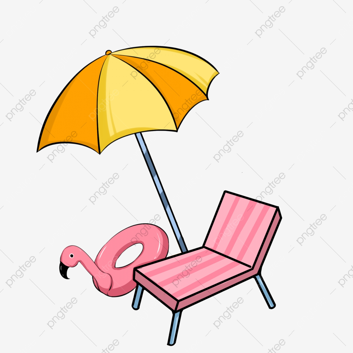 Yellow Umbrella Pink Beach Chair Pink Duck Lifebuoy Beautiful Umbrella Hand Painted Umbrella Umbrella Illustration Yellow Umbrella Png Transparent Clipart Image And Psd File For Free Download