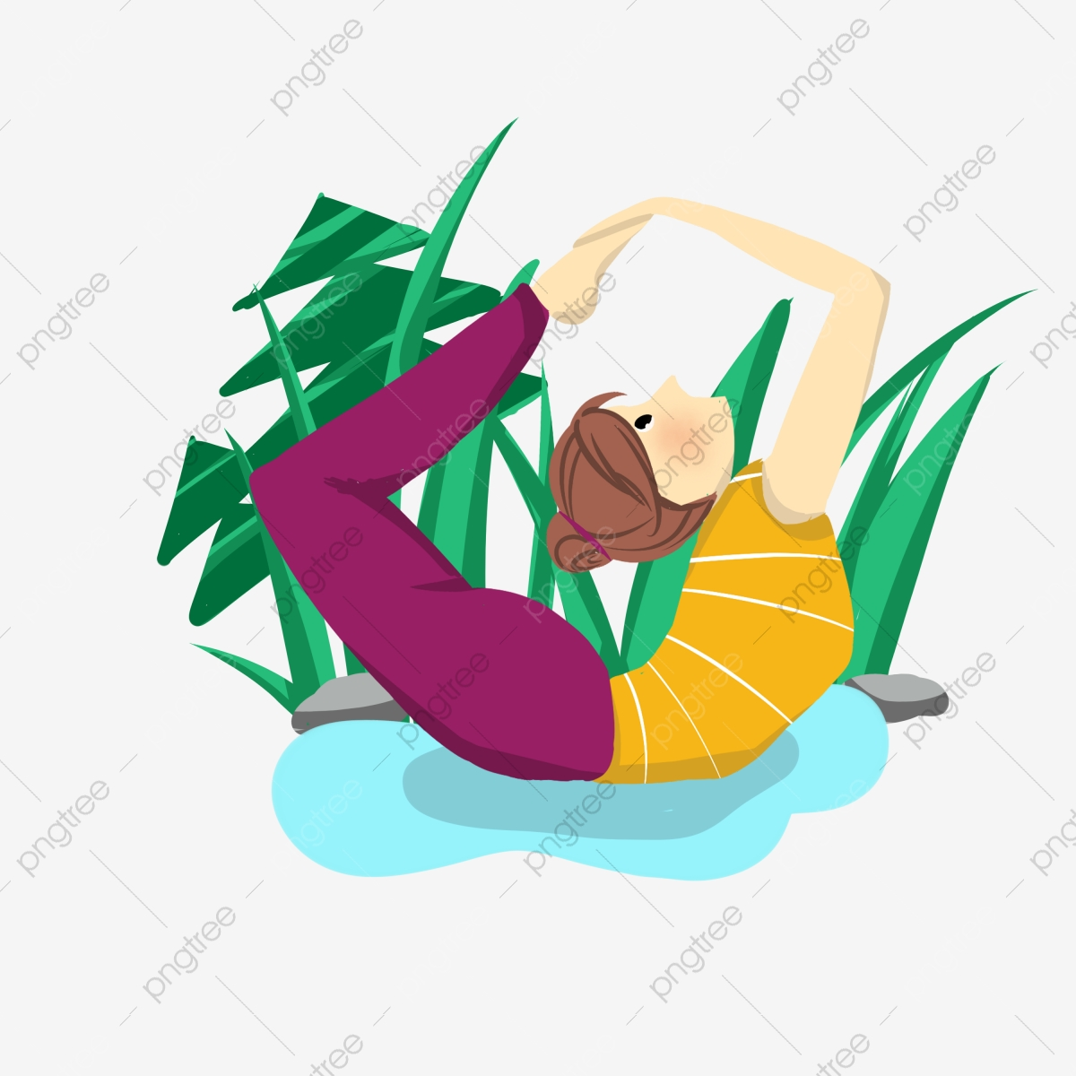 Yoga Flexible Action De Yoga La Posture Tapis Bleu Exercice