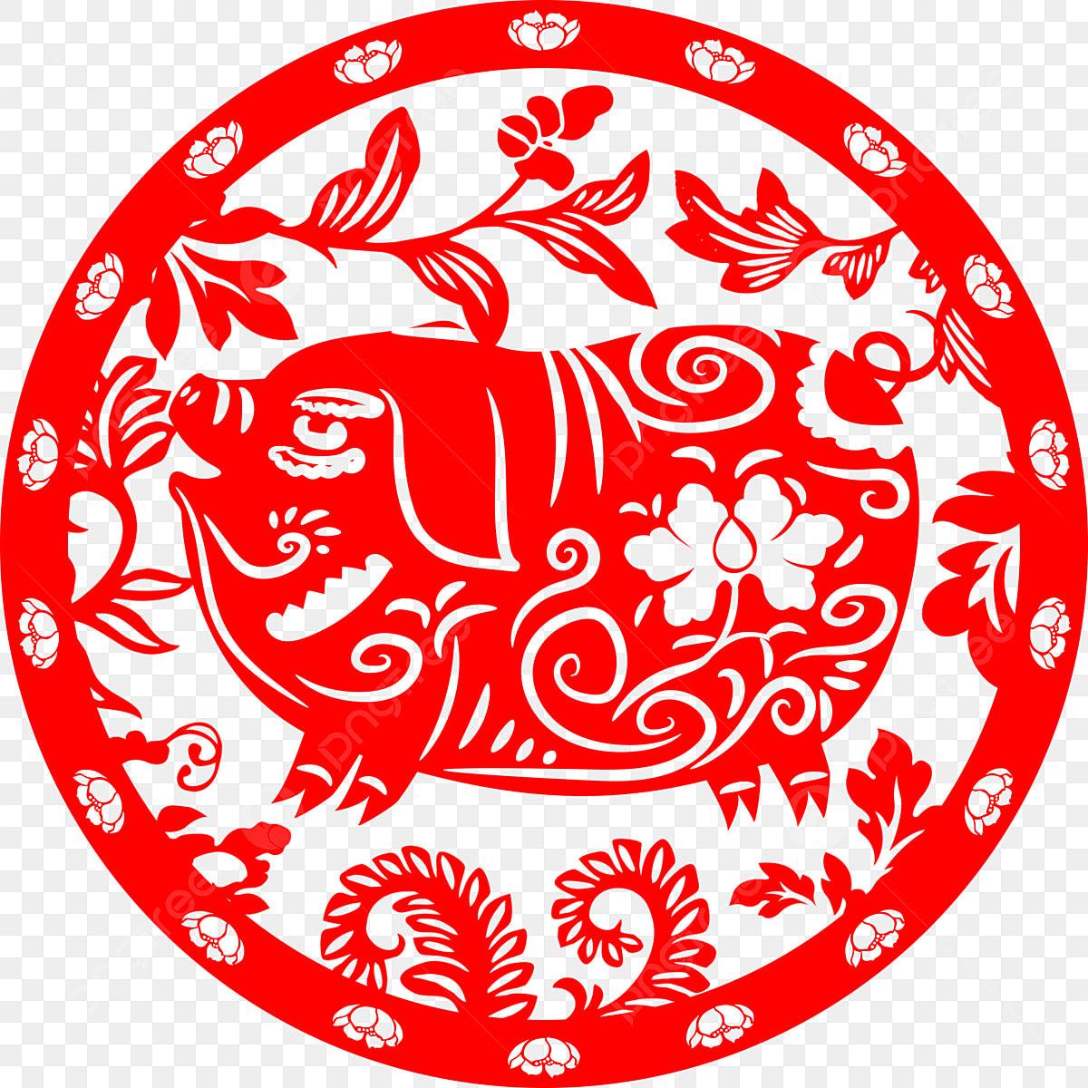 Zodiac Lunar Calendar Year Of The Pig Paper-cut Pig, Festive Paper