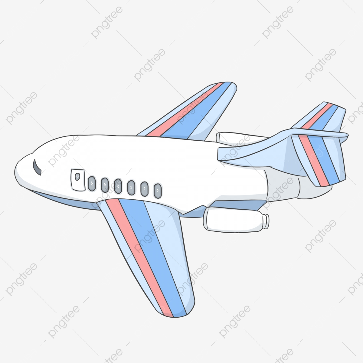 - Aircraft Color Plane White Blue, Red, Hand Painted, Hand Drawn