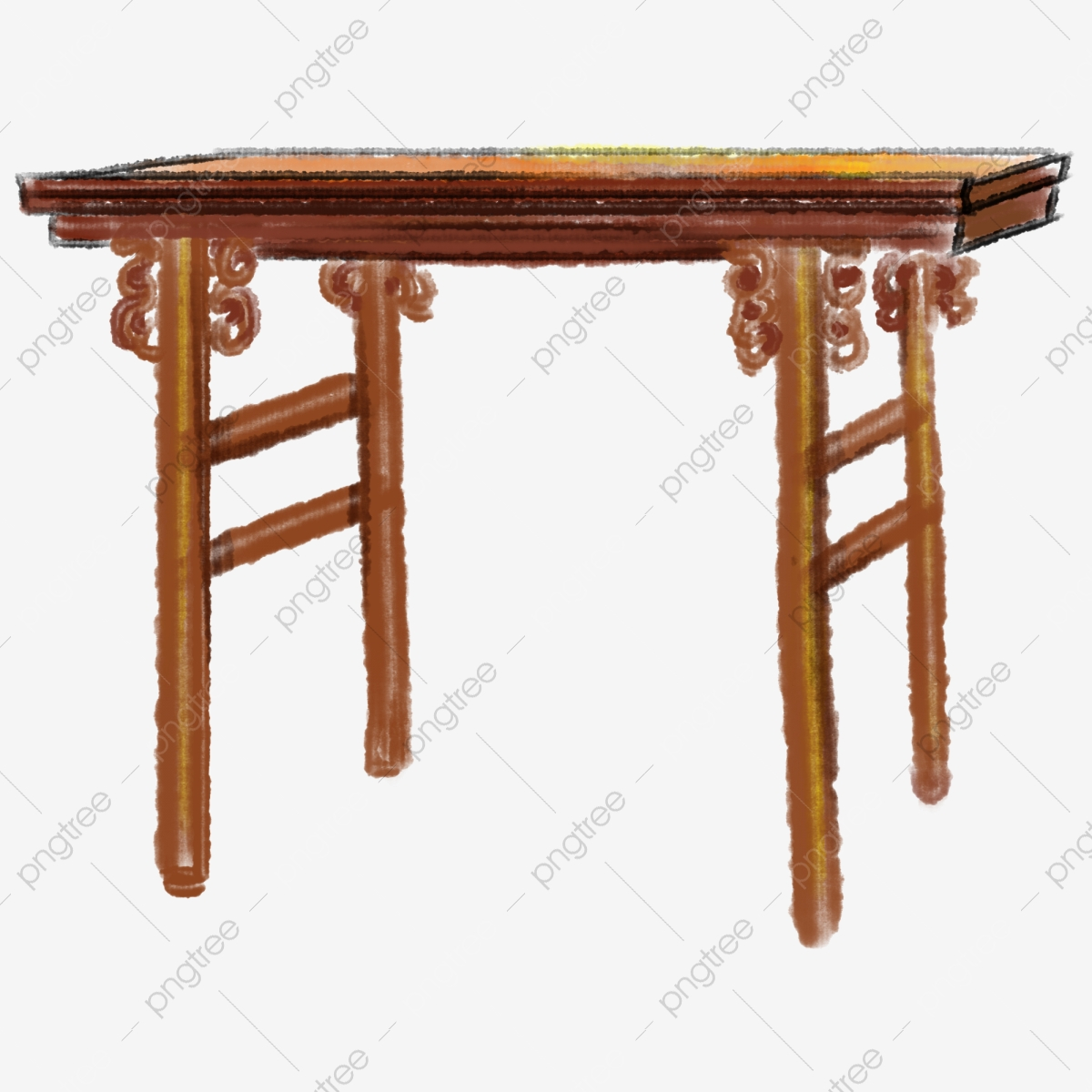 Ancient Table Carved Table Table Illustration Furniture ...