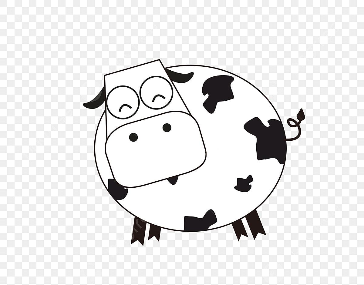 Gambar Haiwan Lembu Putih Tempat Hitam Comel Binatang Tangan Ditarik Png Dan Vektor Untuk Muat Turun Percuma