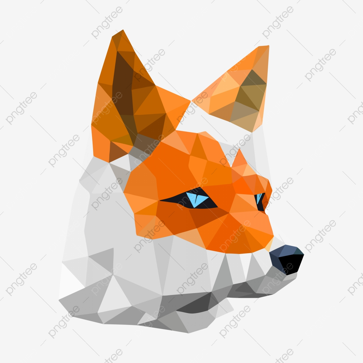 動物 オレンジ色 キツネ 低ポリゴン低 動物 ポリスタイル