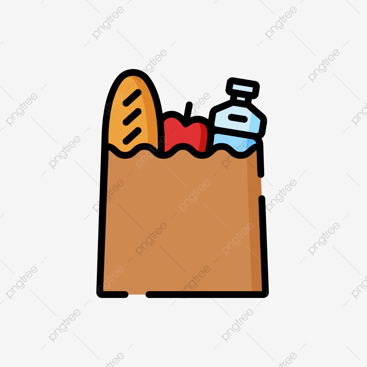 Bag Paper Bag Bread Apple Mineral Water Shopping Bag Icon Png And Vector With Transparent Background For Free Download