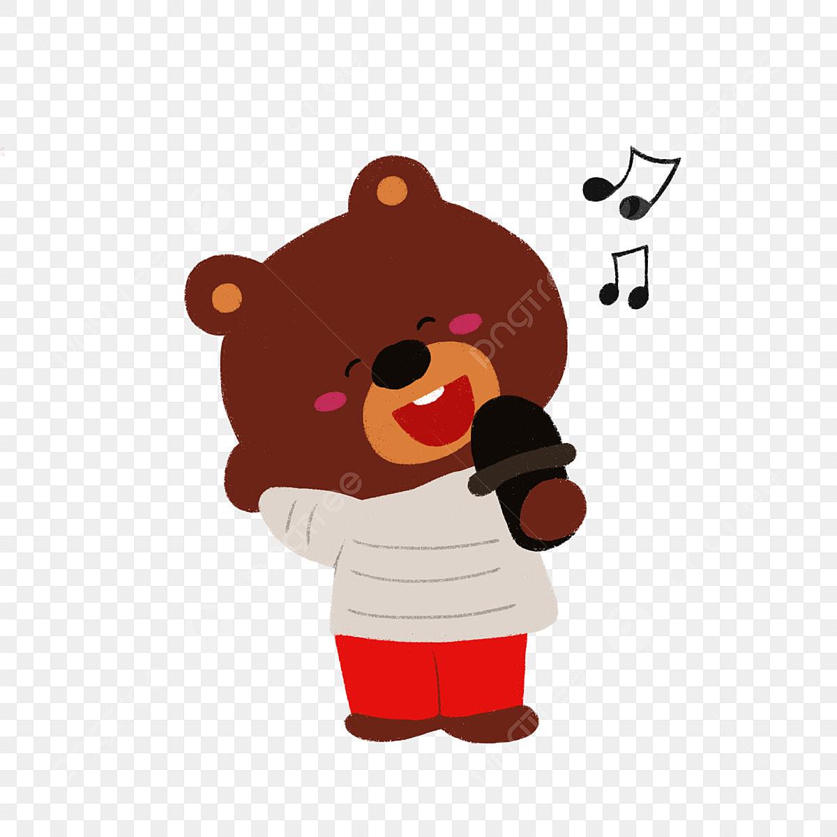 Прикольные статусы, медведь поет смешные картинки